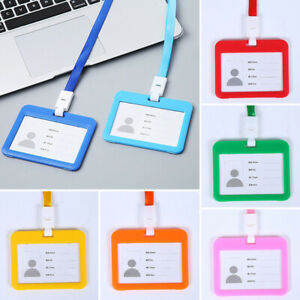 Card Holder Badge Unisex School Office Business Work Card ID Lanyard Sheer Cover