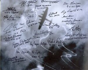 WW2 RAF over target photo signed by TWENTY THREE Bomber Command veterans