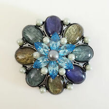 New Aqua Blue Daisy Lavender Flower Crystal Pendant Charm Brooch Pin BR1424 Gift