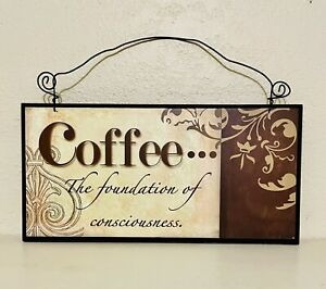 Wood Coffee Wall Sign 6x12 w Wire Hanger