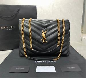 Black Yves Saint Laurent Loulou Medium in Matelassé Shoulder Bag For Women
