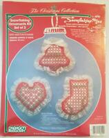 SNOWFLAKING PLUS 3 Piece Ornament Kit Cross Stitch New Vintage By Paragon !