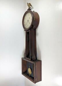 Antique American Weight Driven Banjo Wall Clock, John Sawin ? Downs ?