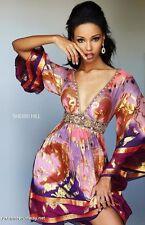 Sherri Hill 50625  Gold Purple Multi Boho Cocktail Dress sz 6