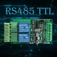 DC 12V Modbus RTU 2 Way Relay Module Output 2 Channel Switch RS485 TTL 12V Input