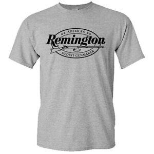 Remington American Gunmaker Logo Guns Firearms Riffles Men's Gray T-Shirt S-3XL
