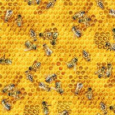 Fabric Real Bee's on Honeycomb on Cotton by the 1/4 yard