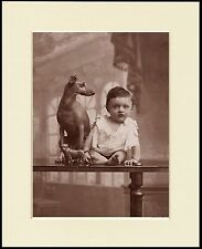 ITALIAN GREYHOUND AND SMALL BOY LOVELY DOG PRINT MOUNTED READY TO FRAME