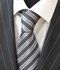 Tie Neck tie with Handkerchief Black with slate grey & white stripe