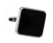 MRCUFF Square Black Stone Formal Pair Cufflinks in a Presentation Gift Box & Pol