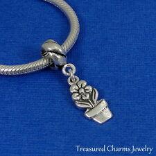 .925 Sterling Silver Garden FLOWER POT Dangle Bead CHARM fits EUROPEAN Bracelet