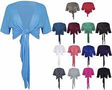Womens New 3/4 Sleeve Plain Tie Shrug Ladies Crop Cardigan Bolero Top Plus Size