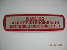 MG MGB WARNING DO NOT RUN ENGINE STICKER DECAL LABEL