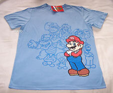 Nintendo Super Mario Characters Mens Blue Printed T Shirt Size L New