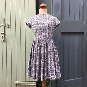 "True Vintage 1950s Painterly Print Cotton Full Skirt Dress UK8 10 W28"""