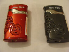 Lot of 2 Lighters Flame ReFillable - New York, Motorcycle,1 pcs Black, 1 pcs Red
