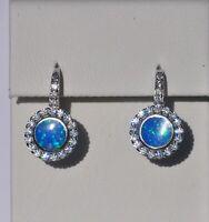 Echt 925 Sterling Silber Ohrringe Zirkonia rund blau  synt. Opal Nr 405L