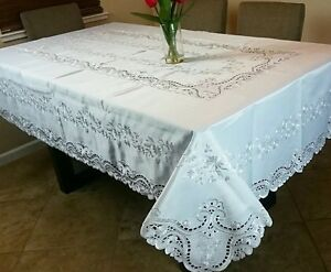 """Solid White 54x72"""" Embroidery Floral Cutwork Embroidered Tablecloth 6 Napkins"""