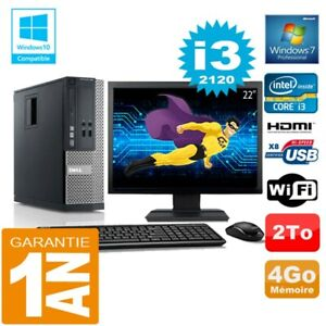"""PC DELL 390 SFF Core I3-2120 RAM 4Go Disk 2 To Wifi W7 Screen 22 """""""