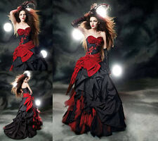 Gothic Red/Black Taffeta Halloween Dresses Prom Party Ball Formal Evening Gown