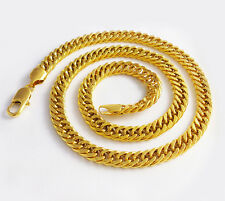 Bold 12MM 23.7'' Heavy 24K Yellow Gold filled Heavy Mens Chain Necklace New+bag