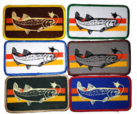 Trout Fly Fishing 4.5 X 2.5 Embroidered Patch Striped Iron On Fisherman