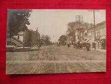 Vintage RPPC MAIN STREET PAW PAW Michigan Postcard Dirt Road Horse Carriage