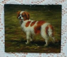 More details for oil on copper miniature spaniel dog painting