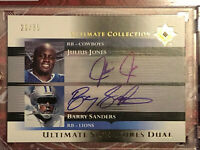 BARRY SANDERS 2005 Upper Deck AUTO Ultimate Collection Dual JULIUS JONES #/35