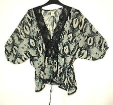 BLACK GREY LADIES CASUAL PARTY SHEER TOP BLOUSE SIZE S FUN & FLINT LACE TRIM