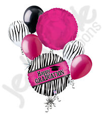 7 pc Hot Pink & Black Zebra Graduation Holo Balloon Bouquet Congratulation Grad