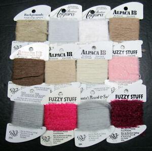 12xNeedlepoint/Embroidery THREAD RG Alpaca18/Fuzzy Stuff/Angora+more furry-EC45