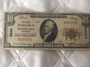1929 $10 Santa Ana, CA California  Ch# 3520  National Bank Currency