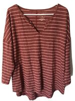 Sonoma Womens Long Sleeve Shirt Top Red Pink Stripes Size XL V Neck