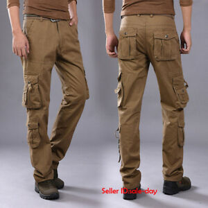 Mens Loose Cotton Drill Tactical Cargo Pants Trousers Casual Outdoor Multi-pocke