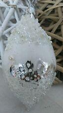 Palla di Natale bianco argento perle stile nostalgico chrisbaumschmuck Habby