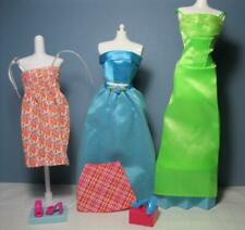 2001 Barbie doll 7pcs Clothes/Shoes Fashion Gift Pack-green/Aqua Gowns Sundress