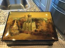1995 VINTAGE RUSSIAN BLACK LACQUER BOX, VILLAGE OF FEDOSKINO, MEDIEVAL CHURCHES