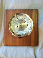 Vintage Barometer 3 in 1 Weather Station Nautical Look Wood & Brass USA