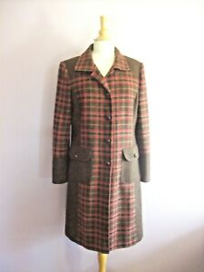 Per Una Size 16 Chocolate Brown + Red 100% Wool Collared Knee Length Coat