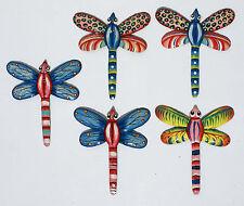 "Set 5 Colored Metal Dragonflies Wall Art Decor Haitian Steel Drum Art Hatian, 8"""