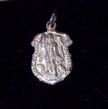 "St Michael Medal Police 11/16"" - 14K White Gold - 2.6 grams - Wholesale"