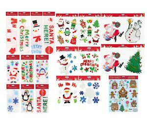 Christmas Santa Glass Door Window Stickers Gel Coloured Elves Reindeer Xmas Tree