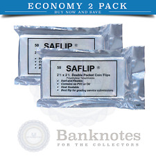 100 Coin Collecting Flips Saflip 2.5 x 2.5 Mylar Archival 2 Packs SALE Free USA