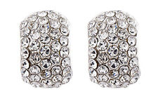 CLIP ON EARRINGS - silver curved huggie earring with rhinestones - Hetty