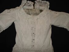 "Antique Doll's Clothes Small Christening Robe Dress Broderie Anglais 10"" Waist"
