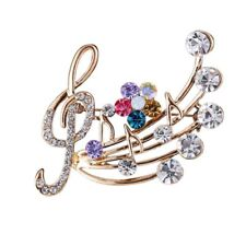 Note Delicate Brooch Wedding Jewelry Blossom Brooches Pins Crystal Musical
