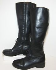 Chadwicks Black Leather Lace Front Riding Boots Womens 8.5 M