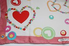 vintage Salvatore Ferragamo Hearts print pastel hues silk scarf