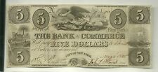 1845 US Obsolete Currency Bank of Commerce New York $5 UNC issued beauty! #